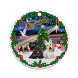 Xmas Magic /Two Scotties Ornament (Round)