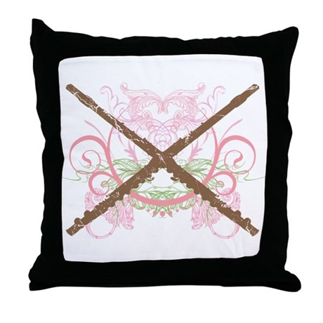 FLUTE grunge Throw Pillow