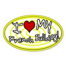 Hypno I Love My French Bulldog Oval Sticker Ylw