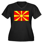 Macedonia Women's Plus Size V-Neck Dark T-Shirt