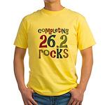 Completing 26.2 Rocks Marathon Run Yellow T-Shirt