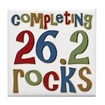 Completing 26.2 Rocks Marathon Run Tile Coaster