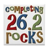 Completing 26.2 Rocks Marathon Run Tile Coaster