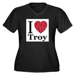 I Love Troy Women's Plus Size V-Neck Dark T-Shirt