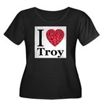 I Love Troy Women's Plus Size Scoop Neck Dark T-Sh
