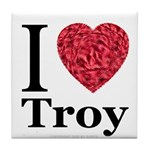 I Love Troy Tile Coaster