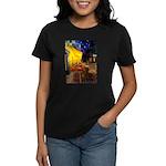 Cafe /Dachshund Women's Dark T-Shirt