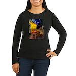 Cafe /Dachshund Women's Long Sleeve Dark T-Shirt