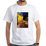 Cafe /Dachshund White T-Shirt