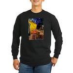 Cafe /Dachshund Long Sleeve Dark T-Shirt