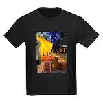 Cafe /Dachshund Kids Dark T-Shirt
