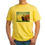 Sailboats / Dachshund Yellow T-Shirt