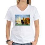 Sailboats / Dachshund Women's V-Neck T-Shirt