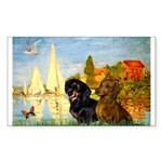 Sailboats / Dachshund Sticker (Rectangle)
