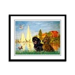 Sailboats / Dachshund Framed Panel Print