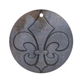 Old Distressed Metal Look Fleur de Lis Ornament