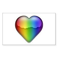 Rainbow Heart 2 Rectangle Decal
