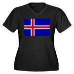 Iceland Women's Plus Size V-Neck Dark T-Shirt