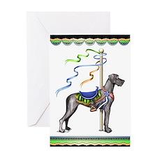 Great Dane Black UC Carousel Greeting Card