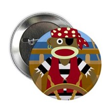 "Sock Monkey Pirate 2.25"" Button"