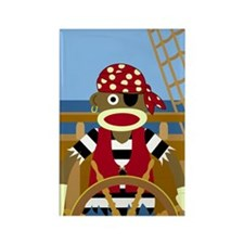 Sock Monkey Pirate Rectangle Magnet