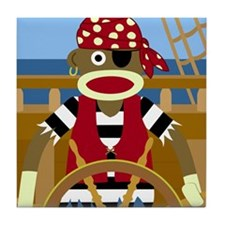 Sock Monkey Pirate Tile Coaster