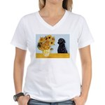 Sunflowers / Lab Women's V-Neck T-Shirt