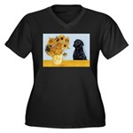 Sunflowers / Lab Women's Plus Size V-Neck Dark T-S