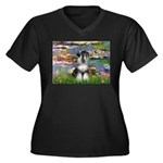 Lilies / Schnauzer Women's Plus Size V-Neck Dark T