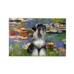 Lilies / Schnauzer Rectangle Magnet (10 pack)