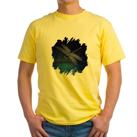 Dragonfly at Night Yellow T-Shirt