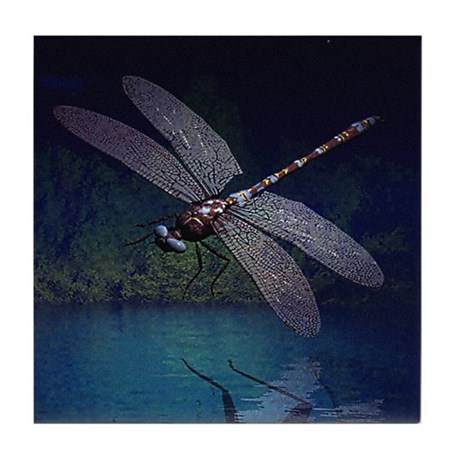 Dragonfly at Night Tile Coaster
