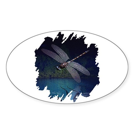 Dragonfly at Night Oval Sticker