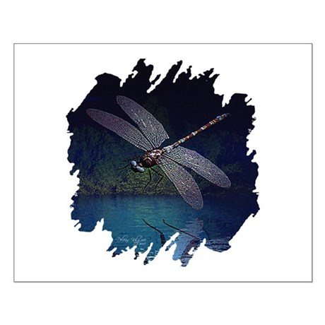 Dragonfly at Night Small Poster