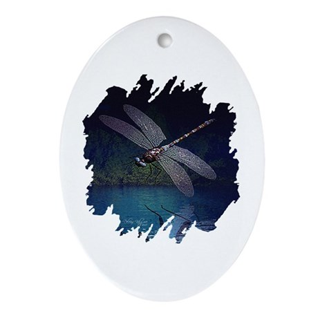 Dragonfly at Night Oval Ornament