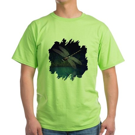 Dragonfly at Night Green T-Shirt