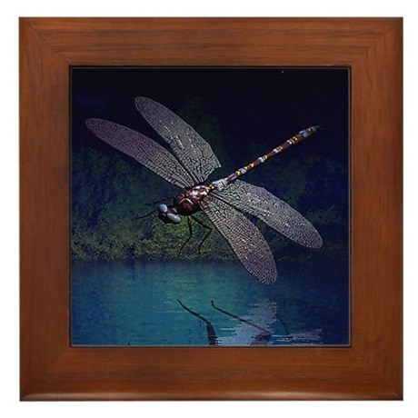 Dragonfly at Night Framed Tile