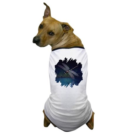 Dragonfly at Night Dog T-Shirt