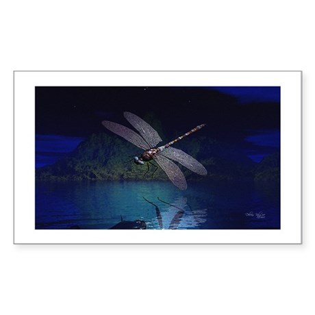 Dragonfly at Night Rectangle Sticker