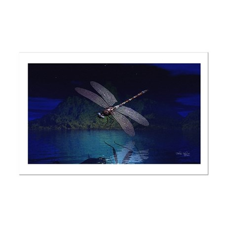 Dragonfly at Night Mini Poster Print