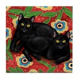 BLACK CATS resting on a bed Tile Coaster