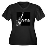 Black Power Women's Plus Size V-Neck Dark T-Shirt