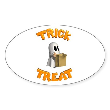 Trick or Treat Oval Sticker