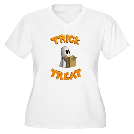 Trick or Treat Women's Plus Size V-Neck T-Shirt