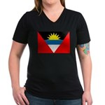 Antigua and Barbuda Women's V-Neck Dark T-Shirt