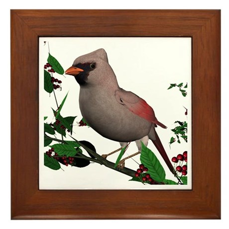 Cardinal (female) Framed Tile