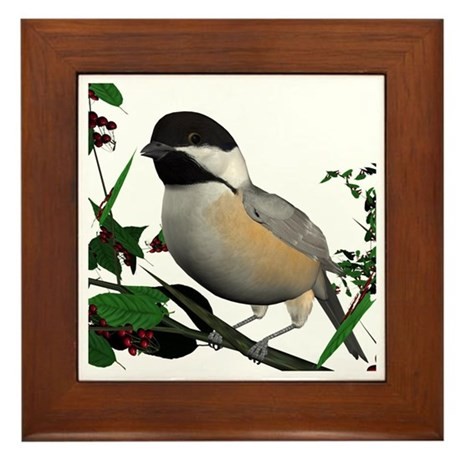 Black Capped Chickadee Framed Tile