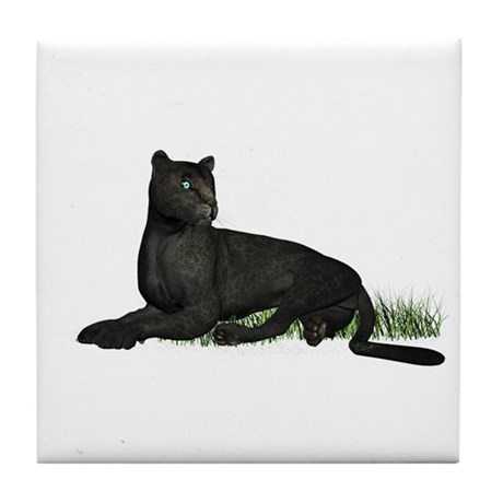 Black Leopard Tile Coaster