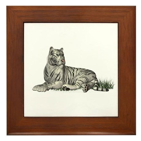 White Tiger Framed Tile