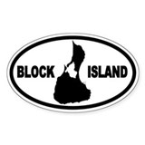 Block Island Map Oval Decal